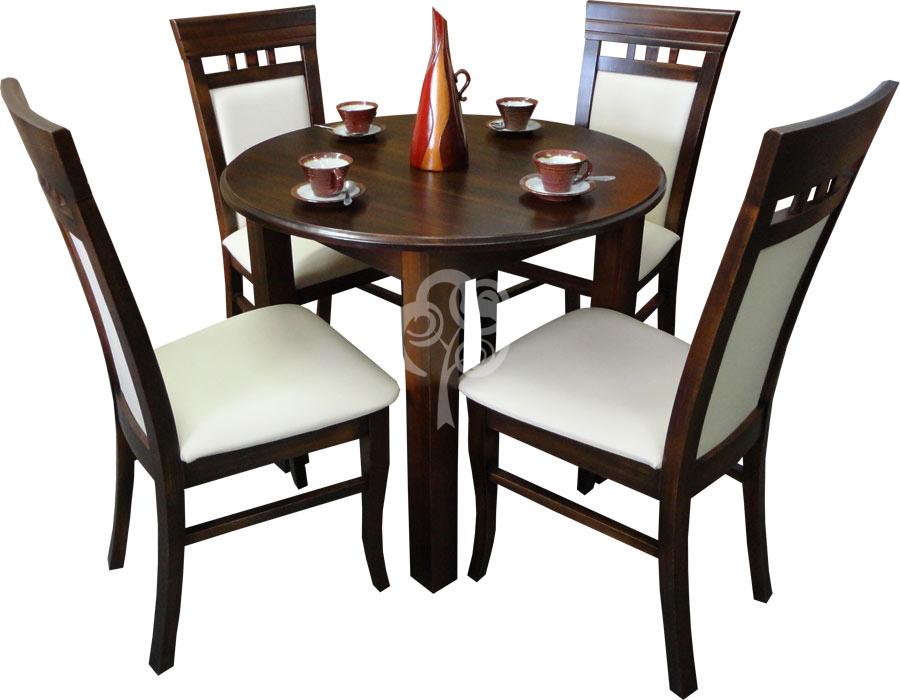 okrągły stół z litego drewna