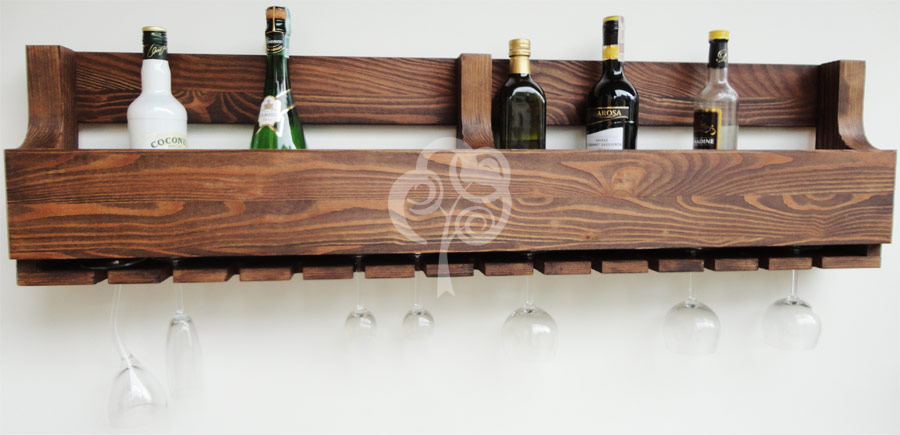 Modish Półka na wino drewniana PDM-10a Kraina Mebli Drewnianych - Meble z QB77